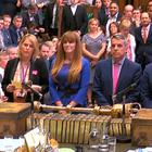 The results of the vote where MPs defeated a Tory backbench Trade Bill amendment linked to the customs union are read out