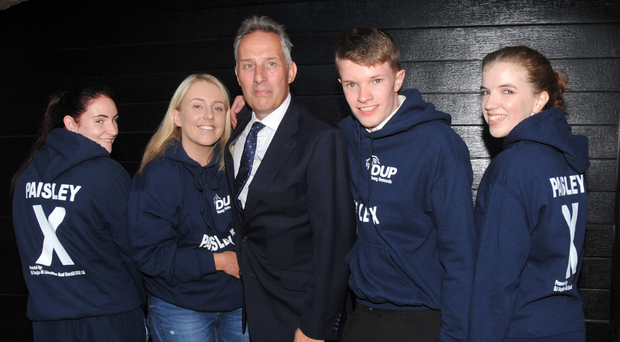 Ian Paisley with his daughter Emily and young supporters at a meeting in Gracehill organised to show backing for the MP earlier this week
