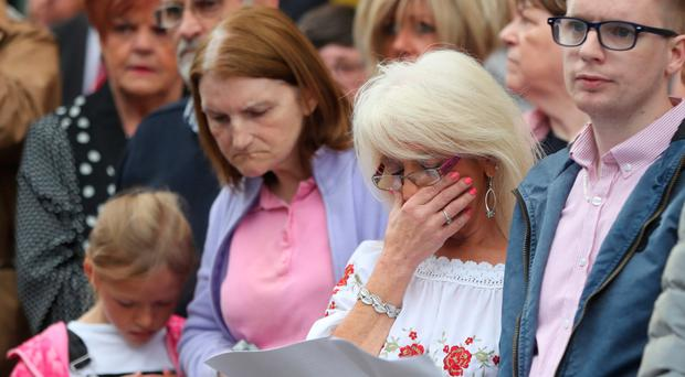 People gathered on Market Street in Omagh during the ceremony to mark the 20th anniversary of the bombing