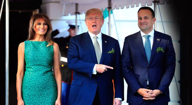 First Lady Melania Trump and President Donald Trump welcome Taoiseach Leo Varadkar to the White House
