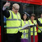 Boris Johnson at Wrightbus in Ballymena in 2016 as DUP leader Arlene Foster and Jonathan Bell MLA look on