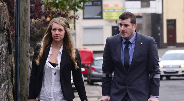 Nicholas Keith Warner and his wife Kaylee leaving Ballymena court