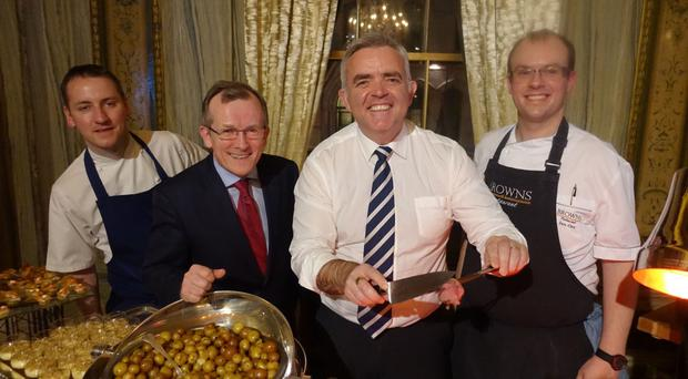 Jonathan Bell with Tourism Ireland's Niall Gibbons and NI chefs Stephen Toman and Ian Orr at the New York launch of NI Year of Food and Drink 2016