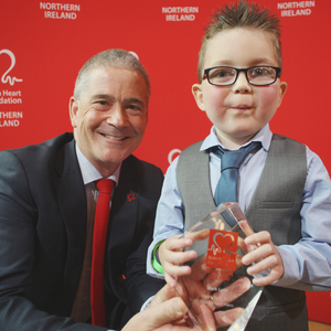 Mark Lynn with Simon Gillespie, chief executive of the British Heart Foundation