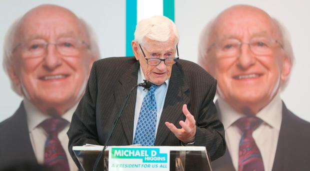 Former SDLP deputy leader Seamus Mallon helps Michael D Higgins launch his Shared Ireland, Shared Island initiative at Droichead Arts Centre in Drogheda, Co Louth
