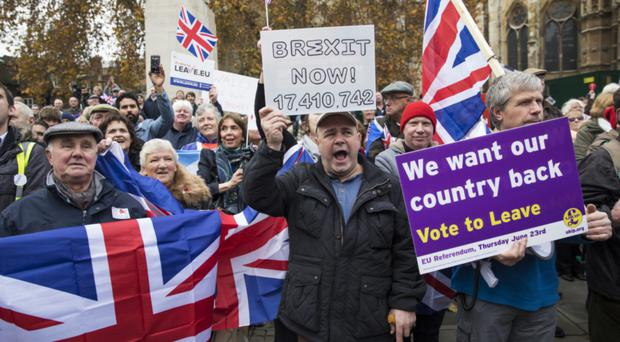 Pro-Brexit demonstrators at Westminster in 2016. Support for leaving the union has diminished in the two years since the referendum