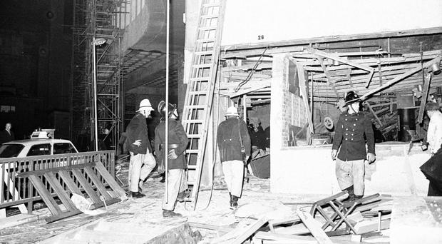 Emergency services at the aftermath of one of the Birmingham pub bombings in 1974