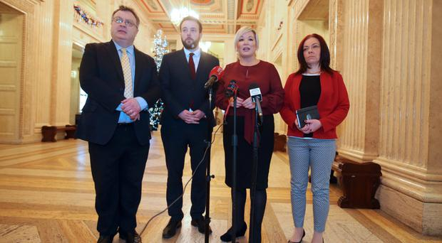 Stephen Farry, Alliance; Colum Eastwood, SDLP; Michelle O'Neill, Sinn Fein and Clare Bailey, Green Party; speaking to the media at Stormont yesterday