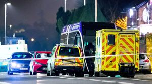 Emergency services at the scene of a collision where a pedestrian lost his life on the Andersonstown Road