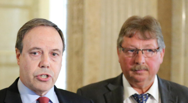 The DUP's Nigel Dodds (left) and Sammy Wilson spoke with Prime Minister Theresa May yesterday