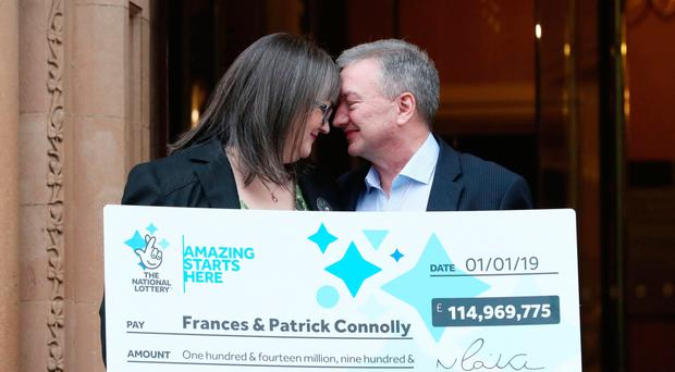 Moira couple Frances and Patrick Connolly celebrating their £115m EuroMillions win at the Culloden Estate and Spa in Holywood yesterday