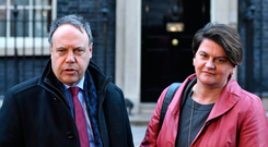 DUP leader Arlene Foster and deputy leader Nigel Dodds outside Downing Street yesterday