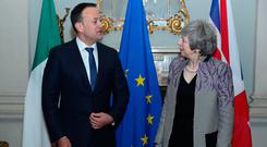 Prime Minister Theresa May and Taoiseach Leo Varadkar during a meeting at Farmleigh House in Dublin