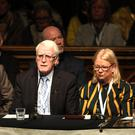 Michael McKinney, John Kelly and Alana Burke at a press conference in the Guildhall yesterday