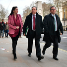 Nigel Dodds, DUP deputy leader, with Emma Little Pengelly and Jeffrey Donaldson outside the Cabinet Office