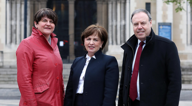 Diane Dodds, DUP candidate for the European election, with party leader Arlene Foster and her husband Nigel yesterday