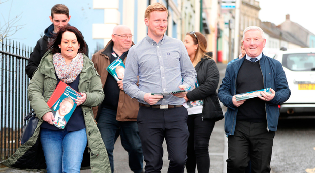 Daniel McCrossan (centre) canvassing in last year's West Tyrone by-election
