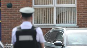 Police at the scene of the incident in Lurgan