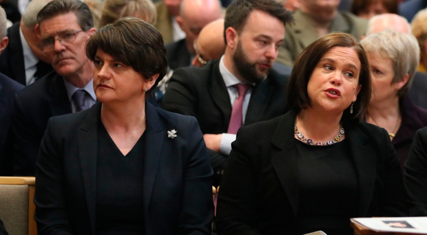 The DUP's Arlene Foster and Sinn Fein's Mary Lou McDonald at Lyra McKee's funeral