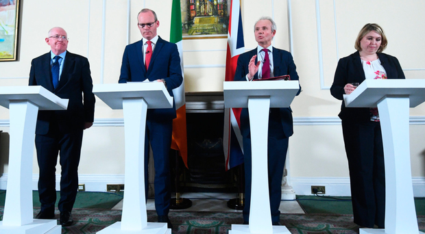 Irish Minister for Justice and Equality Charlie Flanagan, Irish deputy premier Simon Coveney, UK Cabinet minister David Lidington and Secretary of State Karen Bradley during a press conference where a deal was signed to preserve the Common Travel Area (CTA) between the UK and Ireland after Brexit PA
