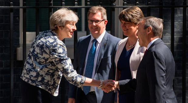 Theresa May with Arlene Foster, Sir Jeffrey Donaldson and Nigel Dodds