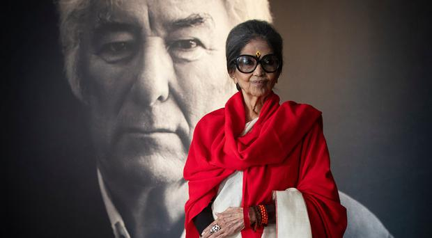 Tara Gandhi Bhattacharjee, granddaughter of Mahatma Gandhi, speaks at the Seamus Heaney HomePlace, Bellaghy during the Jaipur Literature Festival