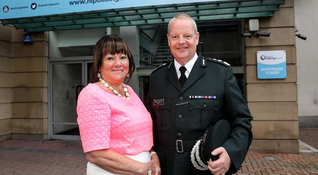 Role: Simon Byrne with Policing Board's chair Anne Connolly