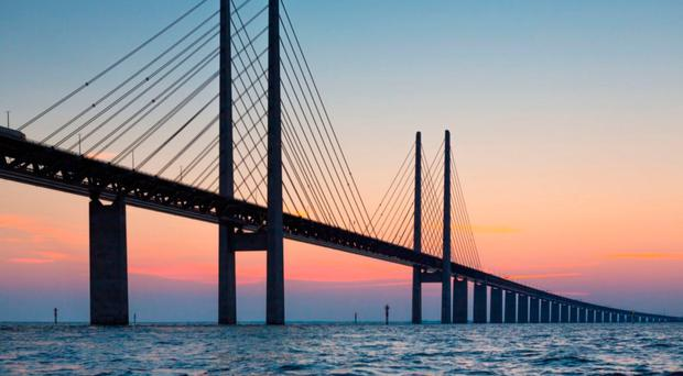 The Oresund Bridge, a five-mile road and rail link from Denmark to Sweden