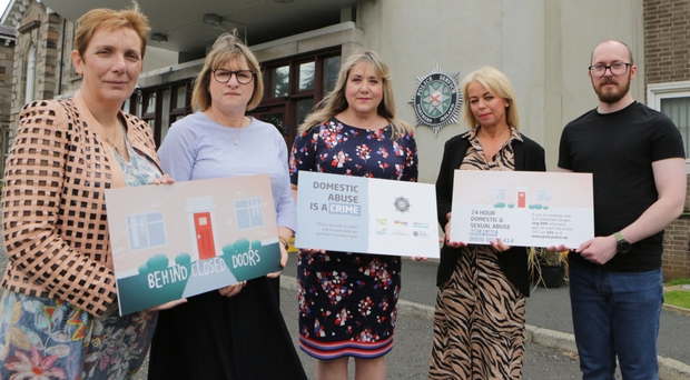 Janice Bunting from Victim Support NI, Karen Gallagher of Nexus, Lorraine Ferguson from Department of Justice, Jenny Passmore of Policing Board and Gavin Boyd, Rainbow Project