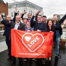 Marriage equality campaigners (from left) Adam Murray (Cara-Friend), Patrick Corrigan (Amnesty International), Clare Moore (NIC-ICTU), Lucas Finch (NUS-USI), Ciaran Moynagh (Phoenix Law), Robert Murtagh (NUS-USI), Cara McCann (HereNI), and John O'Doherty (Rainbow Project) meet with Conor McGinn MP (fourth from right)