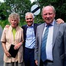 Ben Habib (centre) with Kate Hoey and Jim Allister at the border yesterday