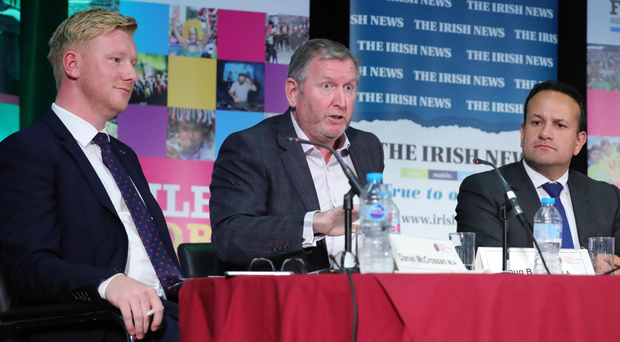 Daniel McCrossan, Doug Beattie and Leo Varadkar during the debate last night