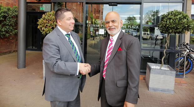 Lord Diljit Rana (right) chairman of Cordia Football Academy, India with Gerard Lawlor, chairman of Cliftonville Football Club, at the Crowne Plaza, Belfast