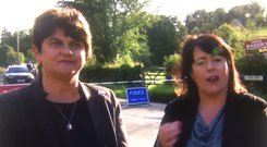 DUP leader Arlene Foster and Sinn Fein MP Michelle Gildernew react during a tense interview on Monday