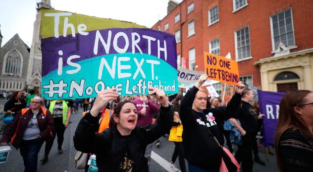 Protesters during an abortion rights campaign march in Dublin on Saturday