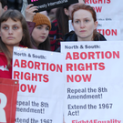 A pro-choice protest outside Belfast City Hall demanding abortion rights