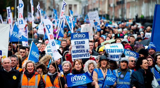 Striking nurses converge in Dublin earlier this year, and now similar action is planned in Northern Ireland