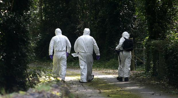 Forensic officers at the scene where Mr Lunney was taken