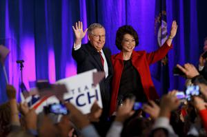 Senate minority leader Mitch McConnell and his wife, former Labor Secretary Elaine Chao, celebrate yesterday