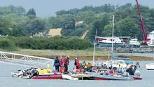 Rescue services attend the scene of yesterday's major incident at Strangford Lough