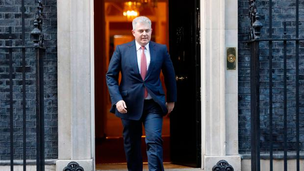 New Secretary of State for Northern Ireland Brandon Lewis leaves 10 Downing Street during the reshuffle