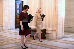 Arlene Foster and Michelle O'Neill yesterday