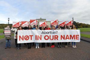 Pro-life protests at Stormont yesterday