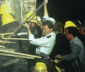 Rescuers at the Shankill bombing