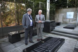 Belfast Telegraph's Laurence White with Stephen in the memorial garden