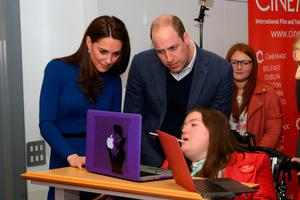Phoebe meeting the Duke and Duchess of Cambridge on a visit to NI