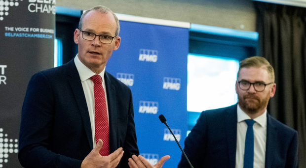 Tanaiste Simon Coveney with Simon Hamilton speaking at Belfast Chamber of Trade and Commerce's annual lunch