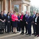 Executive ministers Peter Weir, Deirdre Hargey, Gordon Lyons, Nichola Mallon, Edwin Poots, Arlene Foster, Naomi Long, Michelle O'Neill, Conor Murphy, Robin Swann, Declan Kearney and Diane Dodds at Greenmount Agricultural College, where they held a special meeting yesterday