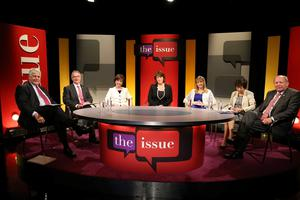 Northern Ireland's Euro election candidates gather together in the Ulster Television studio's for a live debate this evening ahead of Thursday's vote. l/r Jim Nicholson (Ulster Unionists), Alex Atwood (SDLP), Dianne Dodds (DUP) Yvette Schapiro (Ulster Television) Martina Anderson (Sinn Fein) Anna Lo (Alliance) & Jim Allister (TUV)
