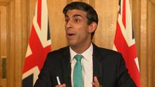 Chancellor Rishi Sunak answers questions from the media via a videolink